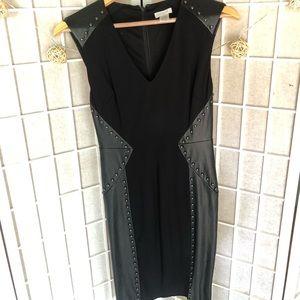 Black Studded Leather + Ponte Dress